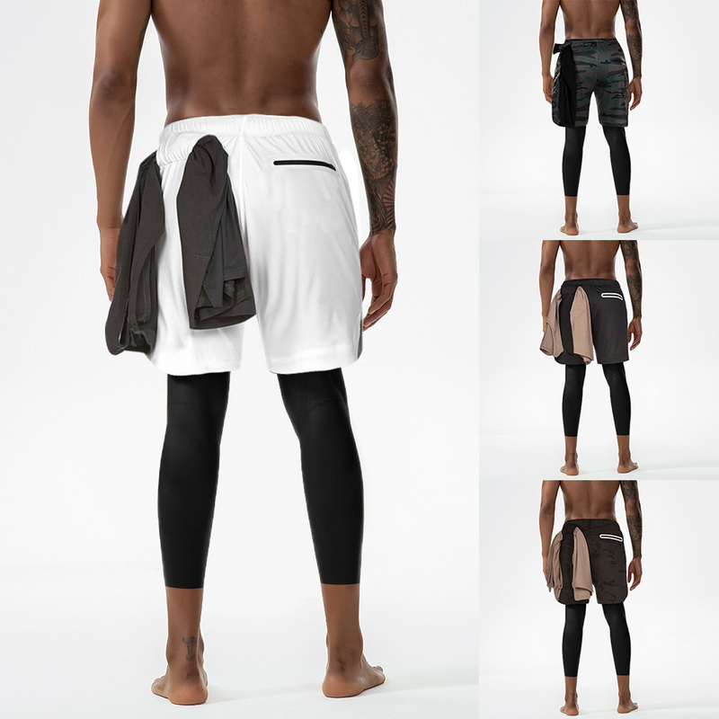 <font><b>Men's</b></font> <font><b>2</b></font> <font><b>in</b></font> <font><b>1</b></font> <font><b>shorts</b></font> pants tights Pants yoga trousers Breathable running leggings male gym Sport Joggers trousers exercise pants image