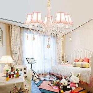 Image 2 - Nordic led kronleuchter mit stoff lampenschirm für wohnzimmer rosa decke kronleuchter beleuchtung moderne weiß anhänger lampe schlafzimmer