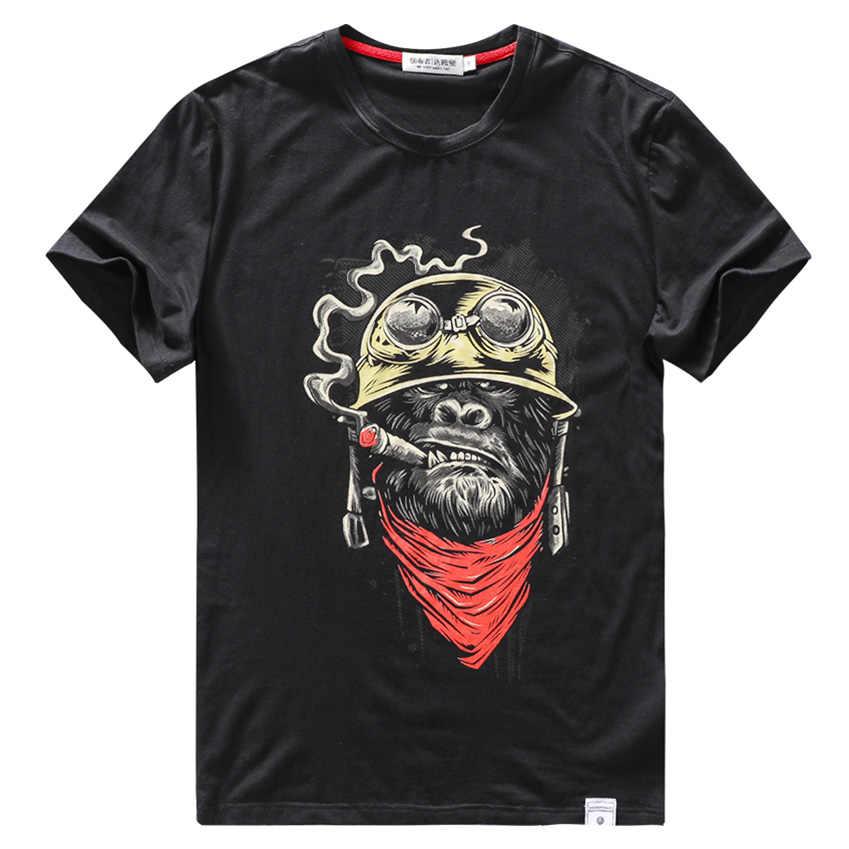 Хлопковая футболка для мужчин забавная футболка уличная одежда хип хоп модная обезьяна мультфильм 3D печать тренажерный зал Мужская Повседневная футболка большой размер