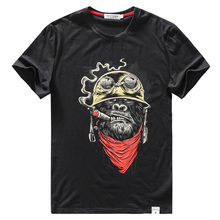 Pamuk T Shirt Erkek Komik Tee Gömlek Streetwear Hip Hop Moda Maymun Karikatür 3D Baskı Spor Erkek Rahat Tee Üst T Gömlek Büyük Boy