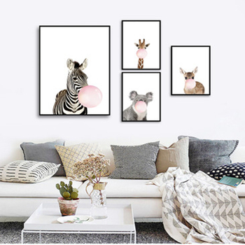 Cartoon Blowing Bubble Gum Animal Poster Zebra Giraffe Decorative Picture Modern Wall Art Paintings For Home Decorations image