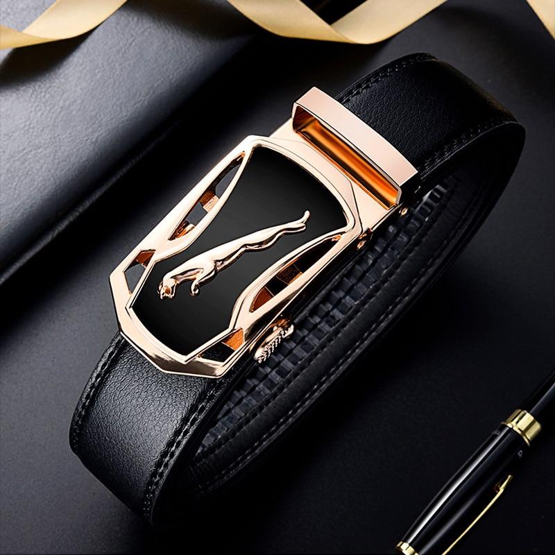 110Cm Men Belts Black Comfort Click Belt Business Leisure Gift Men's Leather Belt Work Belt Sports Car Buckle Waistband