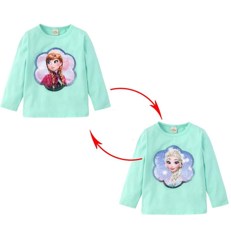 Girls Long sleeve T-shirt Cotton Clothing Magic Sequin T Shirt Change Graph Elsa And Anna Casual Fashion T Shirt Kids Tops Tee 4