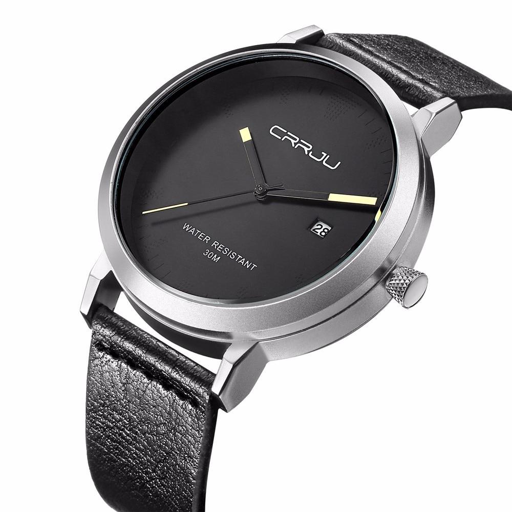 CRRJU Hot Sale Men Watches Men's Quartz Hour Date Clock Male Leather Sports Watch Casual Military Wrist Watch Relogio Masculino