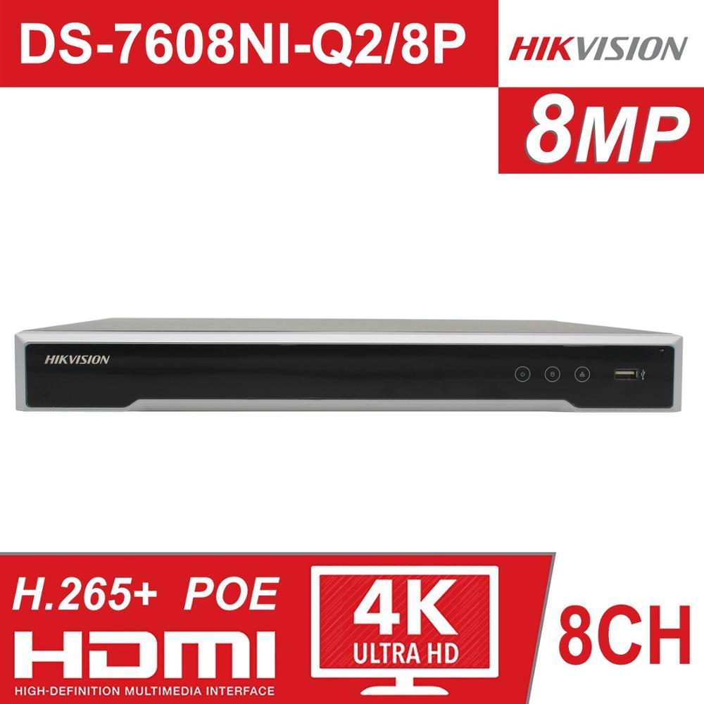 Hikvision 8CH NVR DS-7608NI-Q2/8 P 8 canaux 8 NVRs POE indépendants pour caméra POE 8MP Max 2 enregistreur vidéo réseau SATA