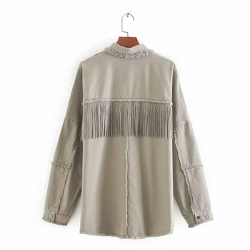 2020 Spring Autumn Fashion Rivet Tassel Denim Jacket Women Solid Short Casual Loose Jean Coat Female Outwear Tops Chaqueta Mujer 5