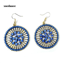 Cross-border supply of foreign trade retro round flower Mosaic rhinestone outside the small bead earrings