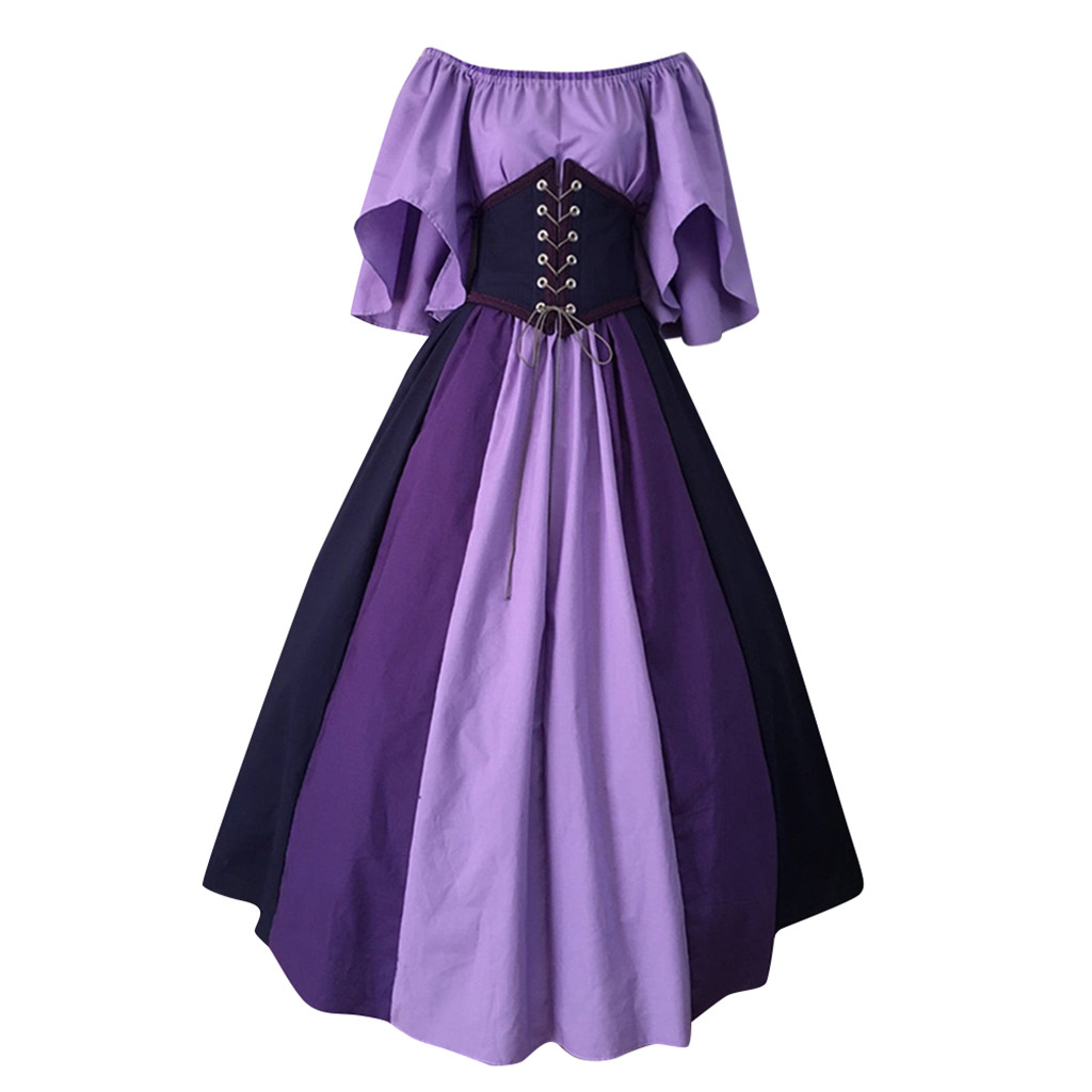 vestido de mujer Fashion New Women Medieval vintage gothic Patchwork Lace Sexy Slash Neck Dress femme