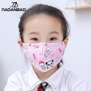 NADANBAO Fashion Cartoon Print Kid's Cotton Masks PM 2.5 Anti-Fog Face-Masks Girls Dust-Proof Breathable Mask For Children