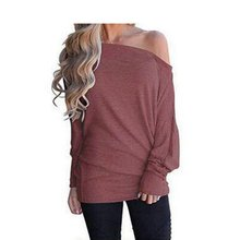 Sexy Women Autumn Tops Cotton Skew Neck Off Shoulder T-Shirt Long Sleeve Slim Solid Color Loose Wild Tee  \