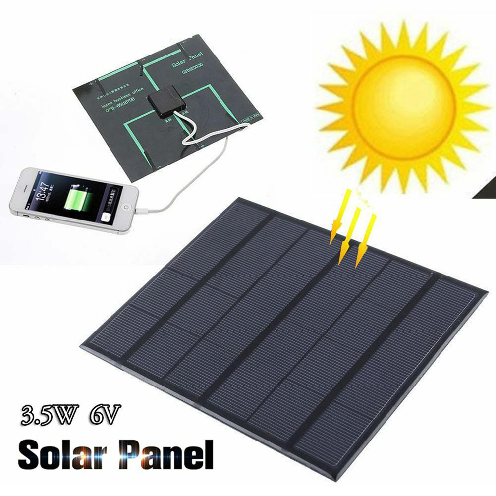 Solar Panel System Charger 3.5W 6V Charging for Mobile Phone Power Bank Camping garden decoration WWO66