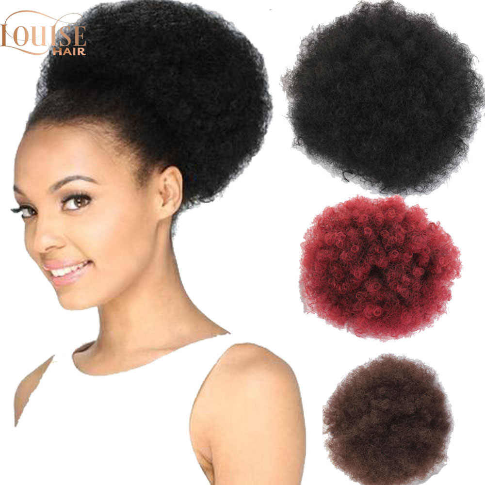 Louise Synthetic Short Afro Kinky Drawstring Ponytail  Chignon Hair Bun Afro Kinky Curly Drawstring Short Hair Pieces Bun