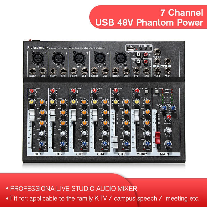 7 kanal Digital Mikrofon Sound Mixer Konsole 48V Phantom Power Professionelle Karaoke Audio Mixer Verstärker mit USB EU Stecker