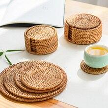 Posavasos redondos de ratán, posavasos Vintage de bambú para mesa de cocina, alfombrillas para cuencos, alfombrilla con relleno, posavasos hechos a mano para mesa de comedor