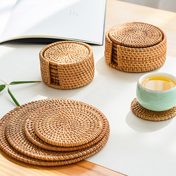 6pcs Vintage Rattan Coasters With 1pc Basket Handmade Woven Drink Mats Placemats