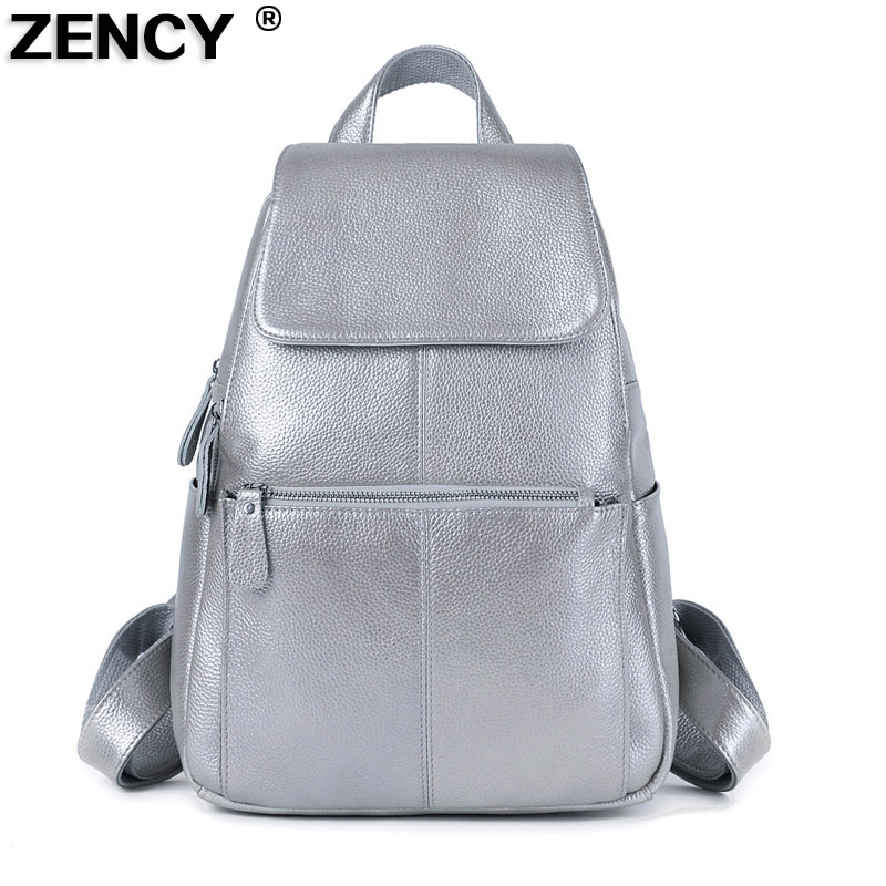 ZENCY 100 Genuine Real Leather Silver Hardware Women Ladies Girl Silver Gray White Pink Backpack Top