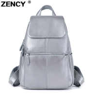 ZENCY 100% Genuine Real Leather Silver Hardware Women Ladies Girl Silver Gray White Pink Backpack Top Layer Cowhide School Bags