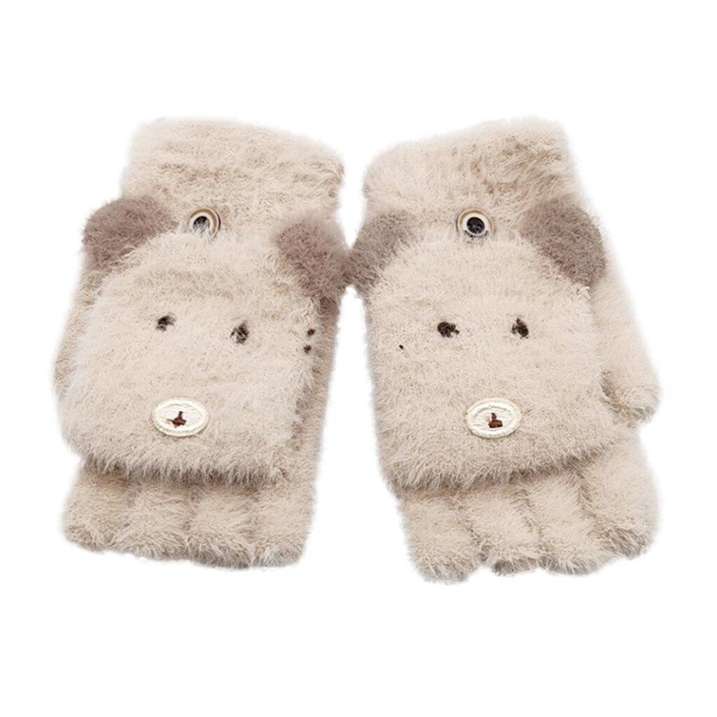 Детские зимние теплые вязаные варежки без пальцев, детские перчатки, детские перчатки для мальчиков и девочек с рисунком - Цвет: Бежевый