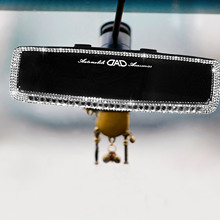 Shiny Car Rearview Mirror Cover Decorative Auto Rhinestone Case Interior Car Styling Accessories