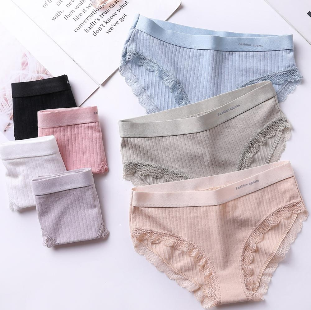 Womens Mid Rise Cotton Bikini Panty with Laced Sides