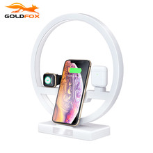 3 in 1 LED Fast Qi Wireless Charger Desk Lamp for iPhone X 8 Charger Dock Station for Airpods Apple watch 1 2 3 4 Charger Stand