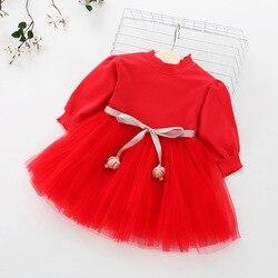 Платье-пачка для маленьких девочек, платье принцессы с длинным рукавом для новорожденных на 1 год и вечерние рождения, весна-осень 2019