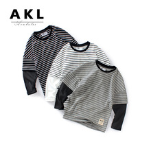 JENYA New Spring Autumn Kids Baby Boys Girls T-shirt Long Sleeve Striped Casual Infant Toddler Cotton Tops Shirt Children недорого