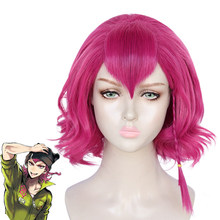 Danganronpa Kazuichi Souda Pink Short Wig Braid Cosplay Costume Dangan Ronpa Heat Resistant Synthetic Hair Men Women Wigs