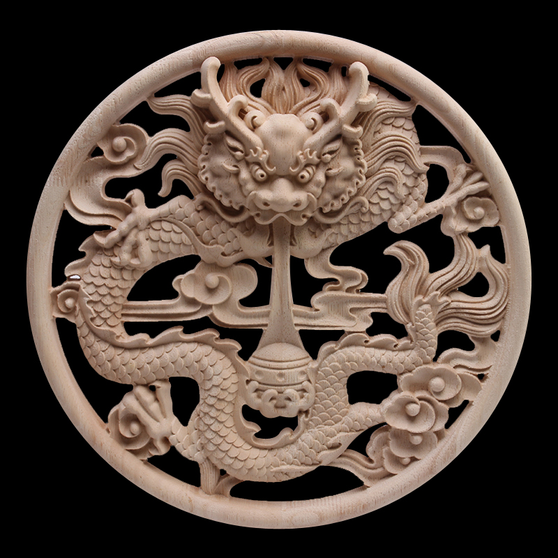 European Decals Carved Dragon Disc Door Flowers And Trees Carved Furniture Bed Flowers Carved Wood Carving Hot Sale Wood Decal