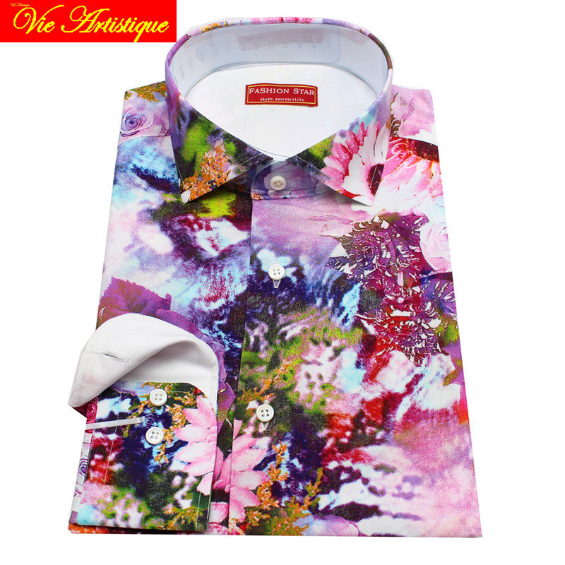 Personnalisé sur mesure hommes sur mesure coton robe florale chemises d'affaires formelle mariage blouse 2019 grande taille rose huile art fleur