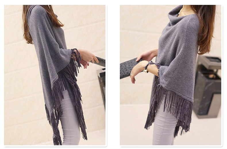 Women Spring Autumn Knitted Sweater Poncho Coat 37