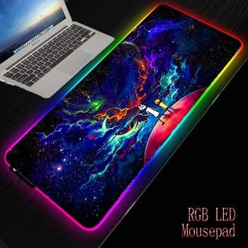 XGZ Morty Anime Gaming RGB Gamer Large Mousepad LED Lighting USB Keyboard Colorful Desk Pad Mice Mat for PC Laptop Desktop