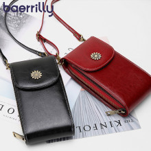 Women's Bags Crossbody-Bag Genuine-Leather Phone-Pocket Woman for Bolsa Mini