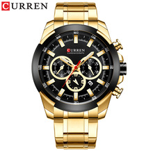 цена на PopularNew fashion men's watch waterproof quartz steel band Watch multi function calendar business men's Watch