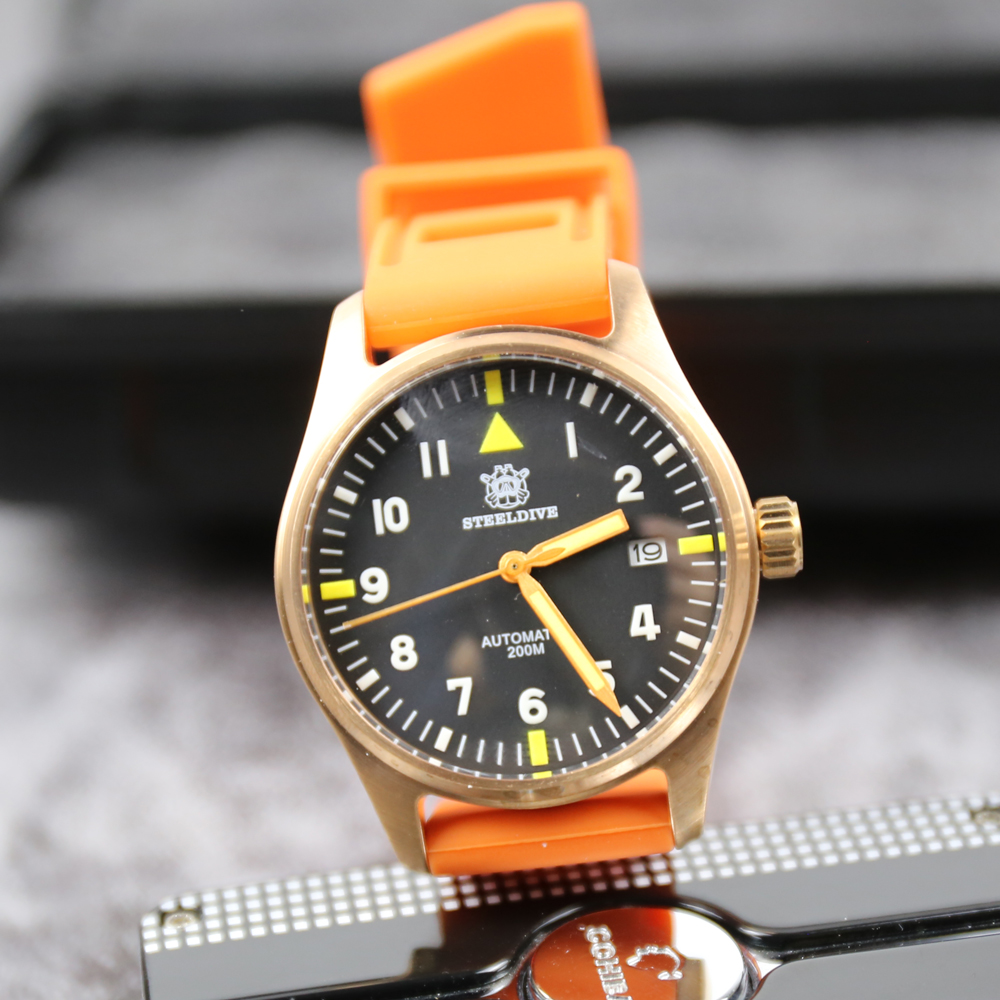 STEELDIVE 1948S Bronze Pilot Watch Japan nh35 Watch Men Automatic C3 Super Luminous 200m Diving Mechanical Men Pilot Wristwatch(China)
