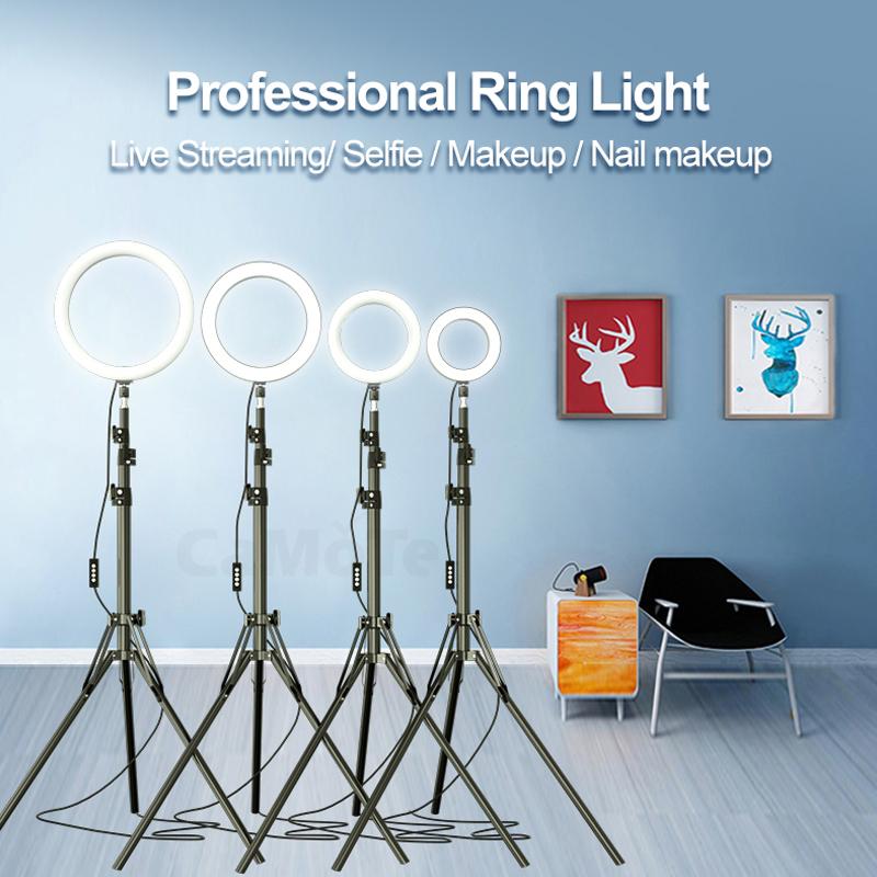 160cm 210cm Tripod Makeup phone holder stand beauty 10 inch 26cm Ring flash Video Live Led ring light lamp Photography Photo