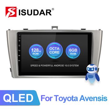 ISUDAR V72 QLED Android 10 Car Multimedia Radio For Toyota Avensis GPS Stereo System Voice Control 8 Core ROM 128G 4G no 2din image