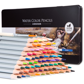 Deli Professional Water Color Pencils 72 Iron Box Send A Brush Wooden Colored Pencil Metal Material Box Kit Watercolor Gift