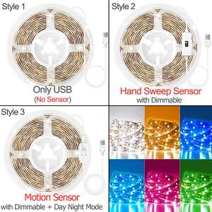 Движения Сенсор светодиодный светильник полосы ручная развертка Сенсор затемнения лента диод 1 м 5 м USB DC 5V SMD 2835 ТВ Подсветка светильник Кухня ночной Светильник|Светодиодные ленты|   | АлиЭкспресс