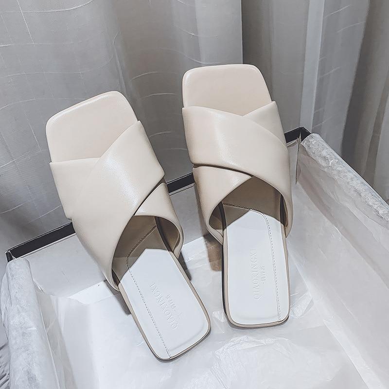 CINESSD Microfiber Home Slippers Women Summer Flat Sandals Women 2020 New Slippers Woman Solid Sandale Femme Outside Sandles Hot