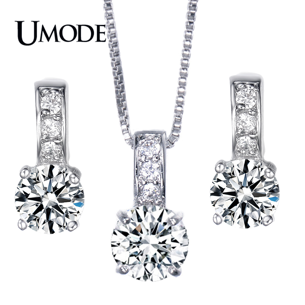 UMODE Bijoux Femme Top Grade AAA CZ  1 pair Stud Earrings & 1pcs Pendant Necklace Set For Women Jewelry Sets AUS0020