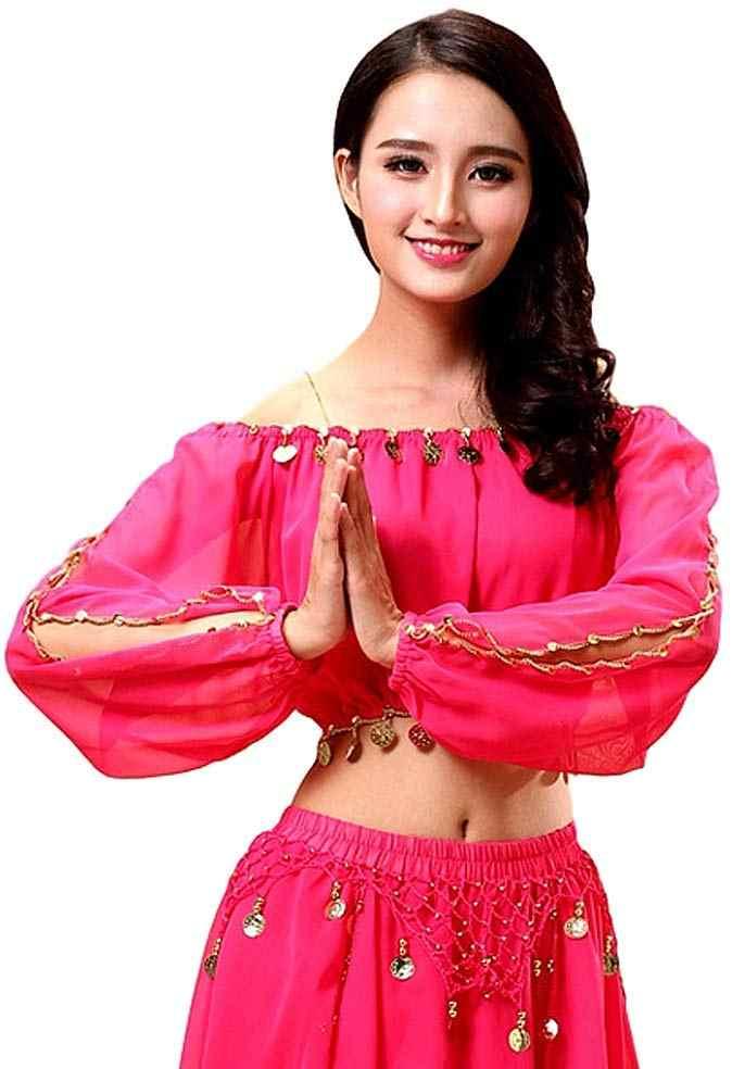 Feecolor Ả Rập Nữ Bụng Dài Tay Ấn Độ Bollywood Trang Phục Bộ Trang Phục Xẻ Top Quần Lót Nữ Quần Bé Gái Nhảy Múa
