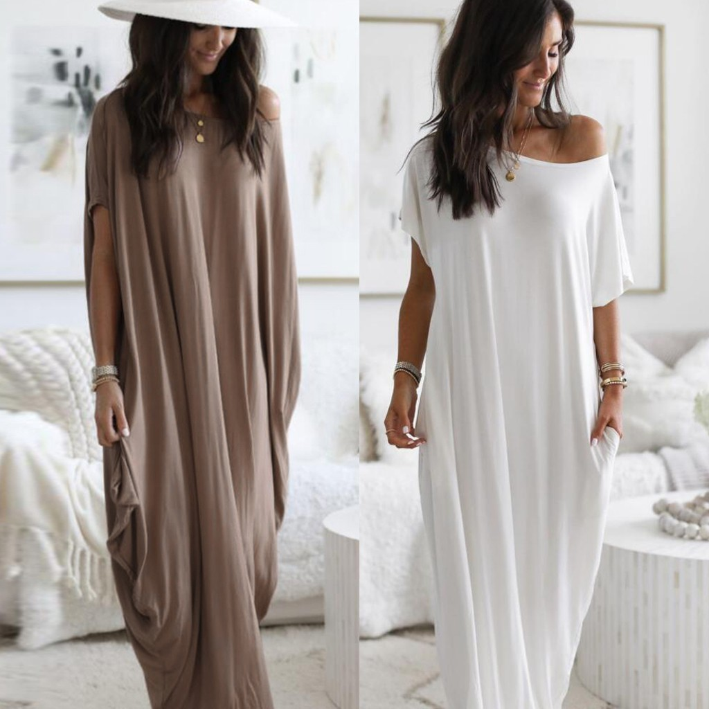Oversized Fluffy Maxi Summer Dress Womens Sexy Casual Solid Boho Dress Beach Off Shoulder Daily Holiday Long Home Dress #33