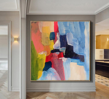 Large Painting On Canvas Oversize Painting Colorful Painting Blue Painting Red Painting Abstract Painting Dine Room Wall Art фото