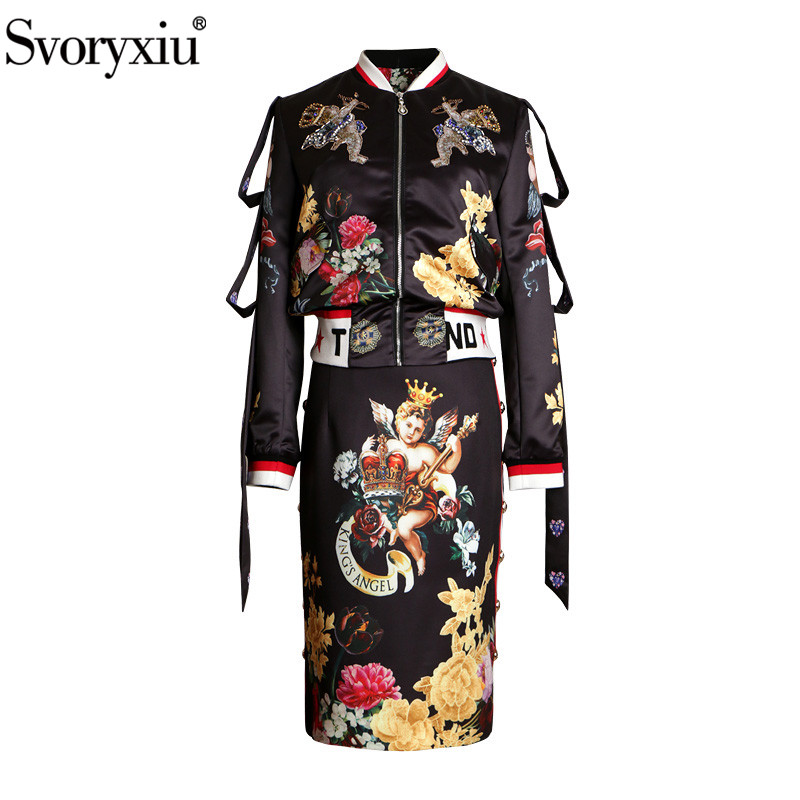 Svoryxiu Vintage Angel Flower Print Black Skirt Suit Women's Fashion Runway Autumn Winter Two Piece Set 2019 New