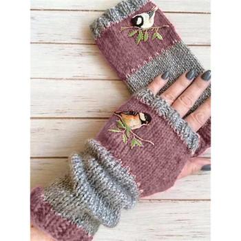 Kobiety ptaki hafty rękawiczki z dzianiny rękawiczki bez palców Plus aksamitna Color Block Splice rękawiczki Damskie rękawiczki Rekawiczki Damskie # T1P tanie i dobre opinie FGHGF CN (pochodzenie) COTTON