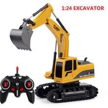 Rc caminhão canal 1:24 rc escavadeira brinquedo rc engenharia carro liga e plástico escavadeira traktor rtr para crianças presente de natal