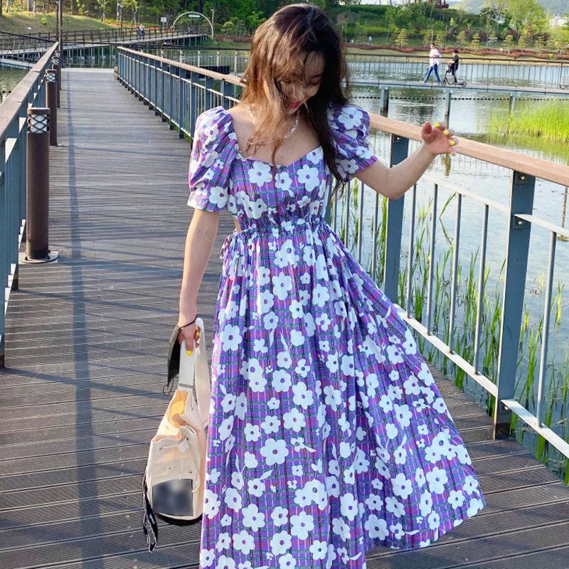 SHENGPALAE 2020 New Summer Women Vintage Loose High Waist Slim Was Thin Elegant Hollow Out Puff Sleeve Maxi Dress ZA4402