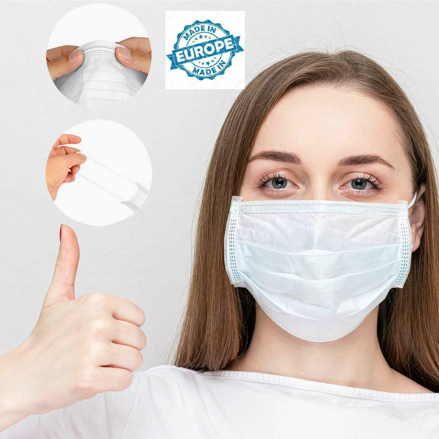 5pcs Mouth Mask Disposable White Mouth Face Masks Non-Woven Mask Anti-Dust Mask 3 Filter Activated Anti Pollution