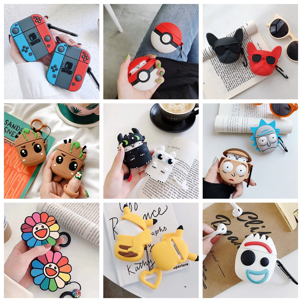 TPU <font><b>Silicone</b></font> 3D Cartoon Bluetooth Wireless Earphone <font><b>Case</b></font> For Air Pods <font><b>Case</b></font> Cover Accessories For <font><b>Apple</b></font> <font><b>Airpods</b></font> 2 Charging Box image